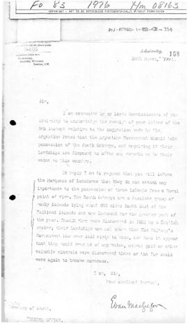 Letter from Admiralty to the British Foreign Office concerning the status of the South Orkney Isl...