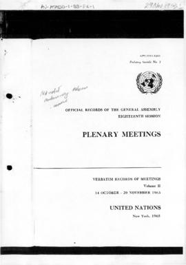 United Nations General Assembly, 18th session, Official Records of the General Assembly concernin...