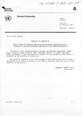 "United Nations, ""Question of Antarctica"", various documents from General Assembly Forty-fourth session, February 1989"
