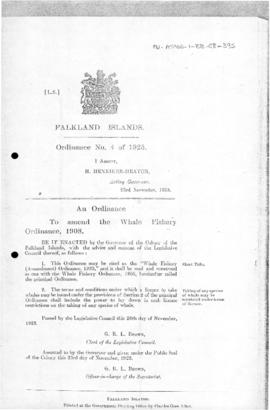 Falkland Islands, Whale Fishery (Amendment) Ordinance, no 4 of 1923
