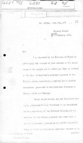 Colonial office letter to British Foreign Office concerning status of South Georgia