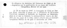 Report of a Chilean memorandum to Argentina reserving Chilean rights with regard to an Argentine map delimiting Argentine claims to an Antarctic sector