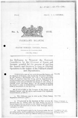 Falkland Islands, Whale Fishery Regulation Ordinance, no 5 of 1915