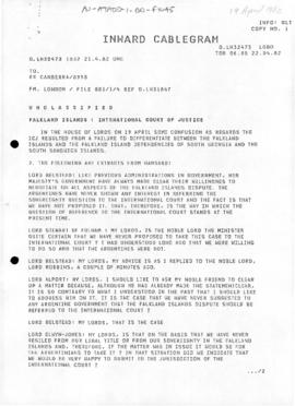 Australia, cablegram concerning referral of the Falkland Islands dispute to the International Cou...