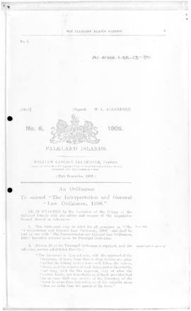 Falkland Islands, Interpretation and General Law Ordinance, no 6 of 1906
