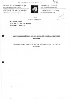 "Fifteenth Antarctic Treaty Consultative Meeting, Paris, Working paper 35 ""Draft recommendati..."