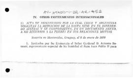Argentina and Chile, Act of Montevideo, and related advice to the United Nations Security Council