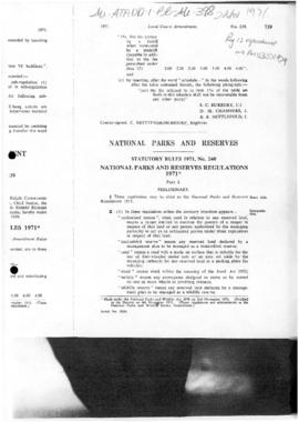 Tasmania Statutory Rules, National Parks and Reserves Regulations and Wildlife Regulations 1971