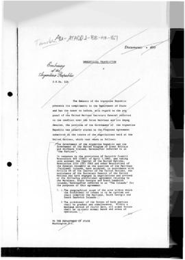 Argentine draft of an agreement with the United Kingdom providing for an end to hostilities (extract)