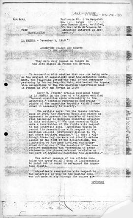 Press report containing letter by Dr Leopoldo Melo on Argentine reservations of rights over southern territories at Panama and Havana conference 1939