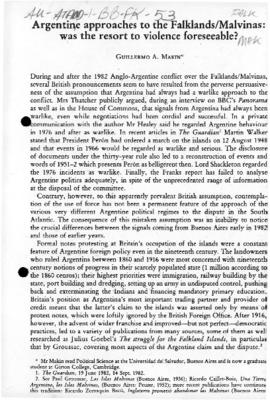 "Makin ""Argentine approaches to the Falklands/Malvinas: was the resort to violence foreseeable?"" International Affairs"