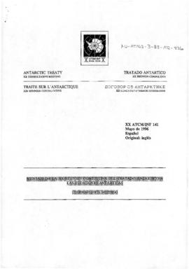 "Twentieth Antarctic Treaty Consultative Meeting (Utrecht) Information paper 141 ""Mensaje de ..."