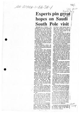 "Press article ""Experts pin great hopes on Saudi South Pole visit"" Riyadh Daily, and related articles"