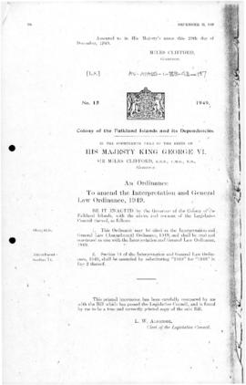 Falkland Islands Dependencies, Interpretation and General Law Ordinance, no 15 of 1949