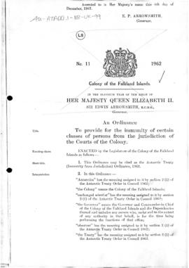 United Kingdom, Antarctic Treaty (Immunity from Jurisdiction) Ordinance, 1962