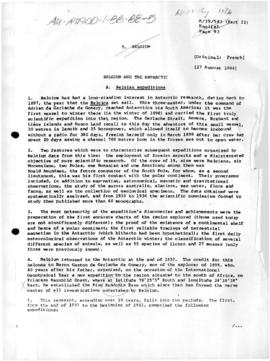 "Belgium, United Nations General Assembly, ""Belgium and the Antarctic"", Document A/39/58..."