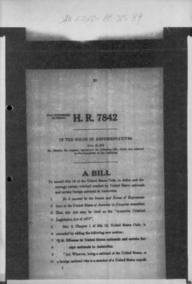 United States Congress, House of Representatives, Bill HR 7842 concerning criminal conduct in Ant...