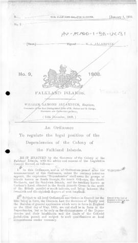 United Kingdom, Dependencies Ordinance, No 9, 1908