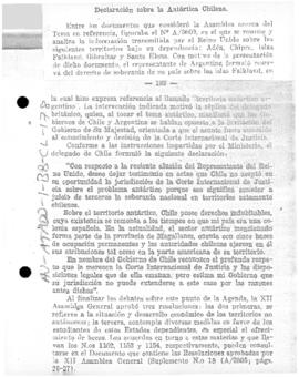 Chilean statement in the United Nations concerning Chile, its Antarctic claims, and the adjudication of the dispute with the United Kingdom before the International Court of Justice