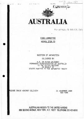 "Australian Mission to the United Nations, First Committee, Agenda Item 70 ""Question of Antar..."