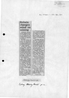 "Press article ""British changes mind on mining"" Sydney Morning Herald and ""Antarctic minerals: towards a solution"""