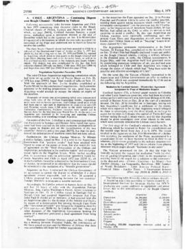 Keesing's Contemporary Archives report on Argentina and Chile and mediation by the Vatican over the Beagle Channel dispute