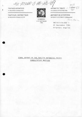 "Twelfth Antarctic Treaty Consultative Meeting (Canberra) Working paper 24 Revision 1 ""Final ..."