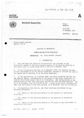 "United Nations General Assembly, Forty-Seventh session ""Report of the First Committee"" (A/47/696)"