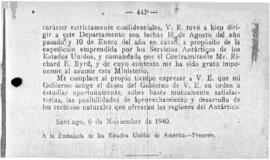 Chilean note to the United States communicating the Chilean decree of 6 November 1940