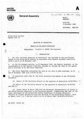 "United Nations General Assembly, Forty-third Session, ""Question of Antarctica, Report of the First Committee"" (A/43/911 and A/43/911/Corr.1)"