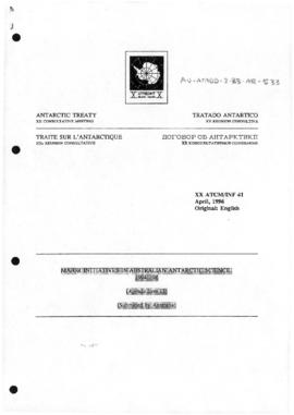 "Twentieth Antarctic Treaty Consultative Meeting (Utrecht) Information paper 41 ""Major initiatives in Australian Antarctic science, 1994-96"" (XX ATCM/INF 41) (Australia)"