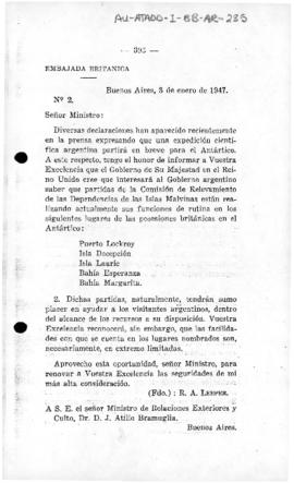 British note (no. 2) to Argentina giving notice of the presence of a Falkland (Malvinas) Islands ...