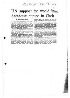"Press article ""US support for world Antarctic centre in Chch"" The Press, and related ar..."