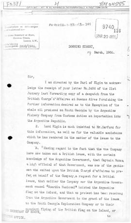 Colonial Office letter to British Foreign Office concerning Argentina lease on South Georgia and implied acquiescence of sovereignty