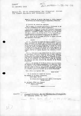 Decree no. 56-32 establishing the financial system for French Southern and Antarctic Lands