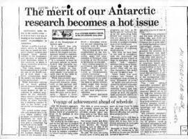 "Stephen Murray-Smith ""The merit of our Antarctic research becomes a hot issue"" Australian"