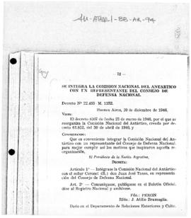 Argentina, Decree no. 22,493 M.1152 adding a representative of the Council of National Defense to...