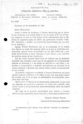 Chilean note to Argentina concerning the representation on a map in an official Australian publication of the South American Antarctic as British