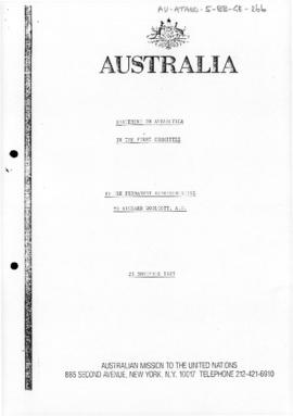 "Australia, Department of Foreign Affairs, Australian Mission to the United Nations ""Statemen..."