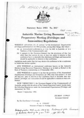 "Statutory Rules 1981 No. 261 ""Antarctic Marine Living Resources Preparatory Meeting (Privileges and Immunities) Regulations"""