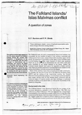 "Barston and Birnie ""The Falkland Islands/Islas Malvinas conflict: question of zones"" Ma..."