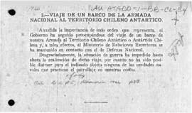 Account giving the reason that a Chilean Antarctic expedition has not been mounted