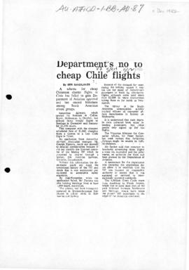 "Sandilands, Ben ""Department's no to cheap Chile flights"" Sydney Morning Herald'"