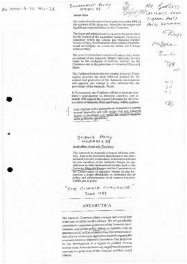 Australia Liberal Party, extracts from party policy documents concerning the Antarctic minerals convention and the environment