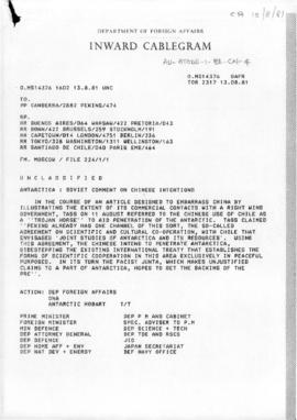 "Australia, Department of Foreign Affairs cablegram ""Antarctica: Soviet comment on Chinese intentions"". Includes reporting of two press articles concerning China's activity in Antarctica."