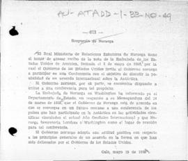 Norwegian note to the United States accepting the United States' invitation to attend an international conference on Antarctica