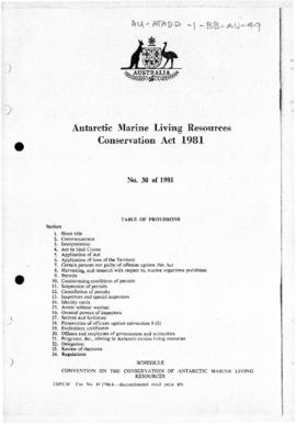 Australia, Antarctic Marine Living Resources Conservation Act 1981