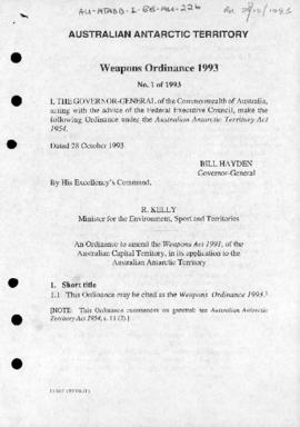 Weapons Ordinance 1993 of the Australian Antarctic Territory