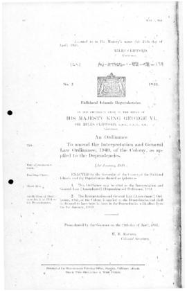 Falkland Islands Dependencies, Interpretation and General Law Ordinance, no 2 of 1951
