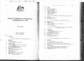 Australia, Off-shore Installations (Miscellaneous Amendments) Act 1982